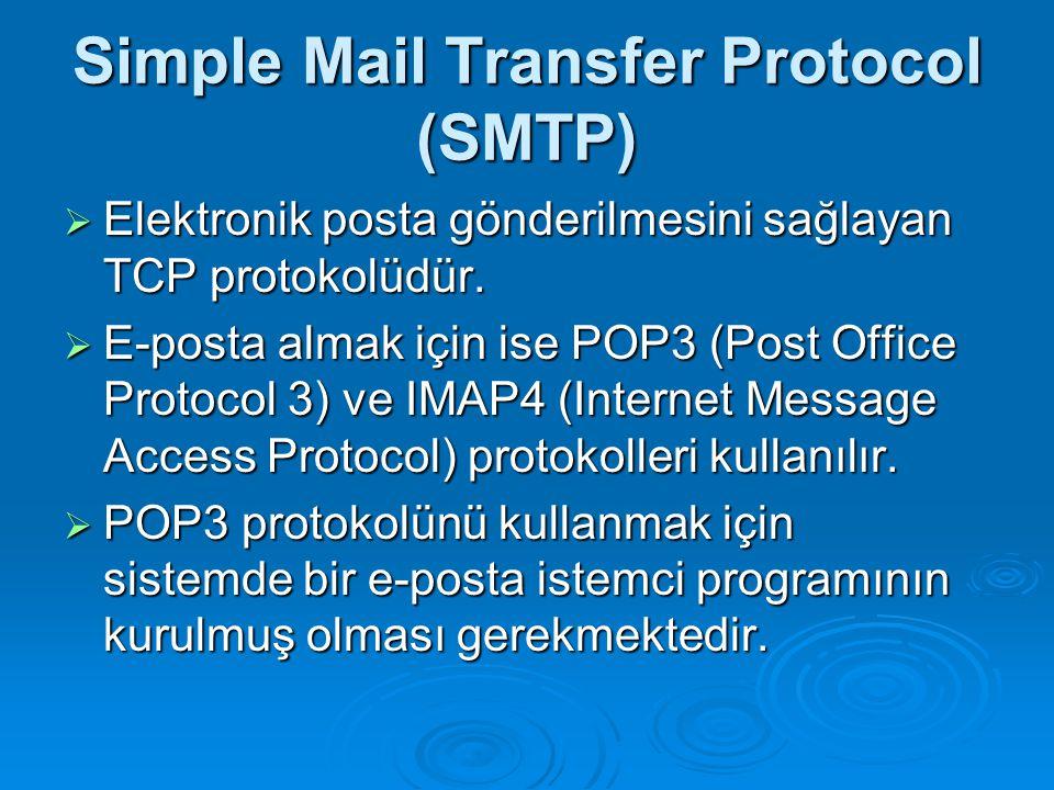 Simple Mail Transfer Protocol (SMTP)  Elektronik posta gönderilmesini sağlayan TCP protokolüdür.  E-posta almak için ise POP3 (Post Office Protocol