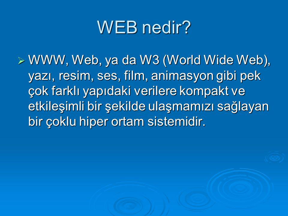 WEB nedir?  WWW, Web, ya da W3 (World Wide Web), yazı, resim, ses, film, animasyon gibi pek çok farklı yapıdaki verilere kompakt ve etkileşimli bir ş