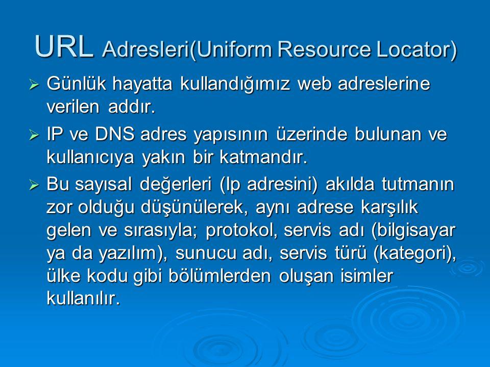 URL Adresleri(Uniform Resource Locator)  Günlük hayatta kullandığımız web adreslerine verilen addır.  IP ve DNS adres yapısının üzerinde bulunan ve