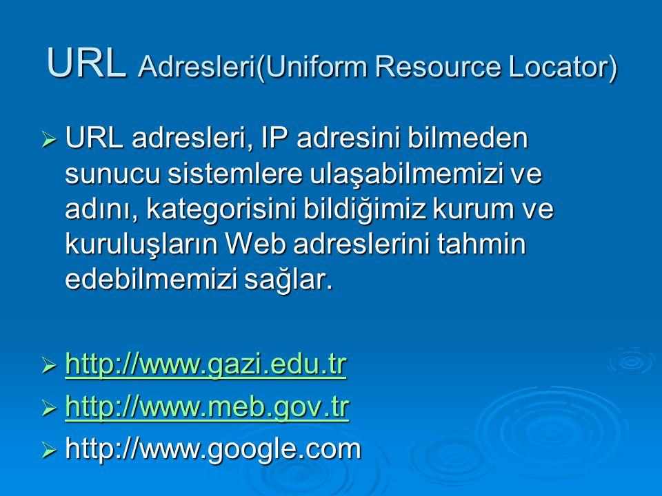 URL Adresleri(Uniform Resource Locator)  URL adresleri, IP adresini bilmeden sunucu sistemlere ulaşabilmemizi ve adını, kategorisini bildiğimiz kurum