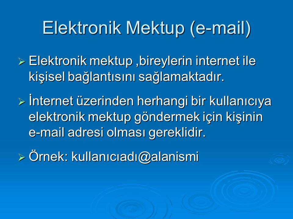 Elektronik Mektup (e-mail)  Elektronik mektup,bireylerin internet ile kişisel bağlantısını sağlamaktadır.  İnternet üzerinden herhangi bir kullanıcı