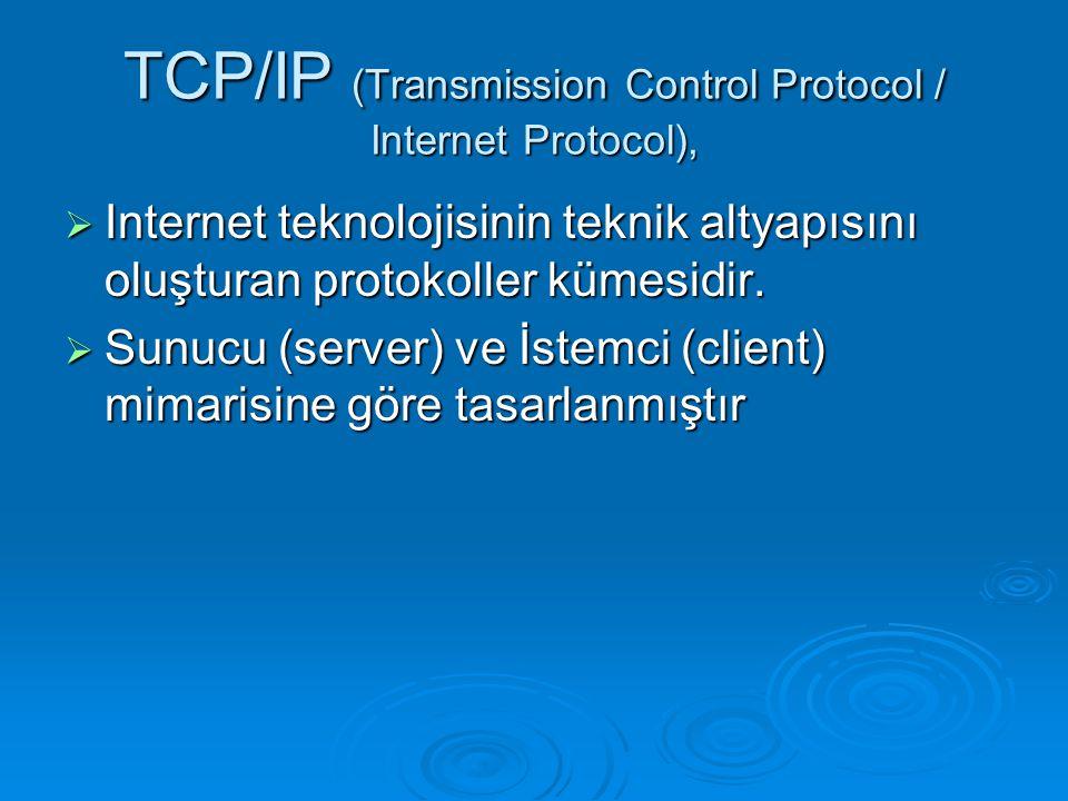 TCP/IP (Transmission Control Protocol / Internet Protocol),  Internet teknolojisinin teknik altyapısını oluşturan protokoller kümesidir.  Sunucu (se