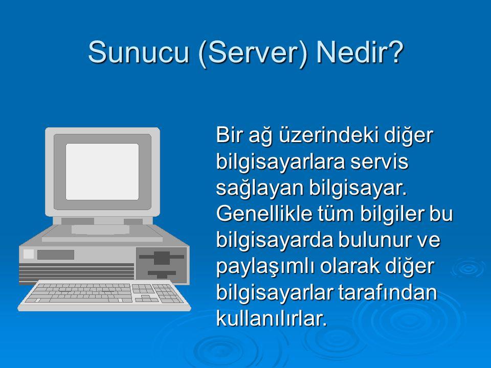 Sunucu (Server) Nedir? Bir ağ üzerindeki diğer bilgisayarlara servis sağlayan bilgisayar. Genellikle tüm bilgiler bu bilgisayarda bulunur ve paylaşıml