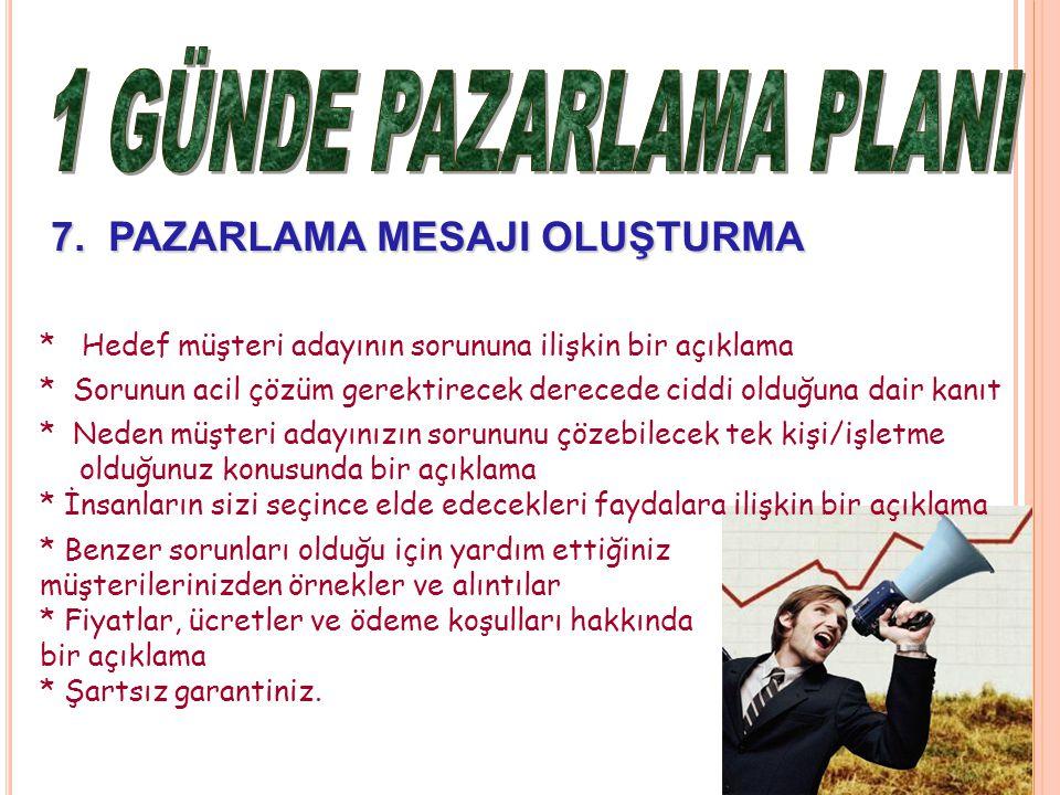 7.PAZARLAMA MESAJI OLUŞTURMA 7.