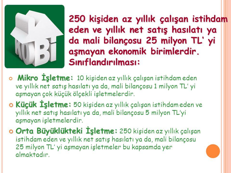 Türkiye' de işletmelerin %89' unu mikro ölçekli (10 işçiden az) KOBİler oluşturuyor; ancak yarattıkları katma değer %20' lerde kalıyor.