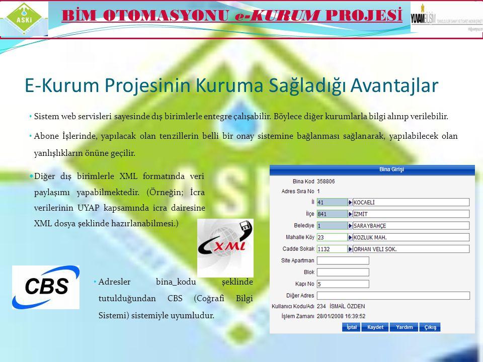 E-Kurum Projesinin Kuruma Sağladığı Avantajlar  Açılan iş emirlerinin sonuçlarına göre sistem tarafından otomatik olarak gerekli olan tahakkuklar yap