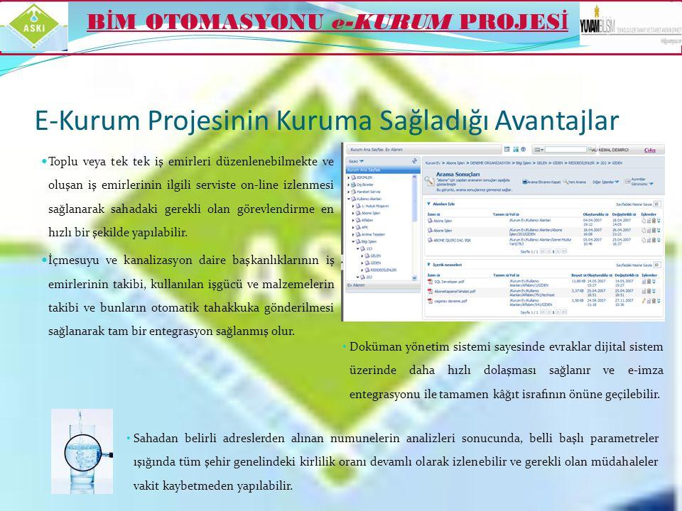 E-Kurum Projesinin Kuruma Sağladığı Avantajlar  Diğer dış birimlerle XML formatında veri paylaşımı yapabilmektedir. (Örneğin; İcra verilerinin UYAP k