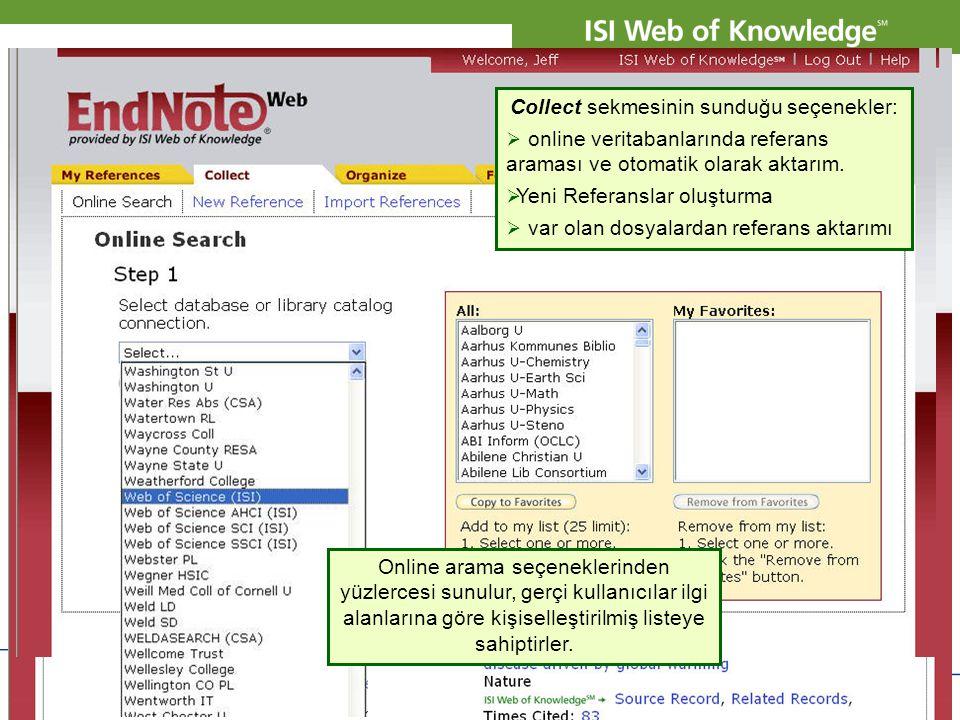 Copyright 2007 Thomson Corporation 11 Collect sekmesinin sunduğu seçenekler:  online veritabanlarında referans araması ve otomatik olarak aktarım. 