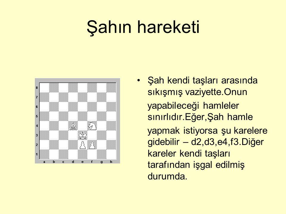 Şahın hareketi •Beyaz Şah e4,f4,g4 karelerine gidemez,çünkü At ve Fil tarafından hedef haline gelmişler.; f6,g6 karelerine gidemez,çünkü siyah Şaha yaklaşamaz.Tek yapacağı şey e6 veya g5 karesine gitmesidir.
