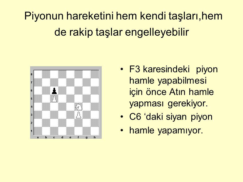 Piyonların hareketi •Ok ile piyonun mümkün olan hareketleri gösterilmiştir.