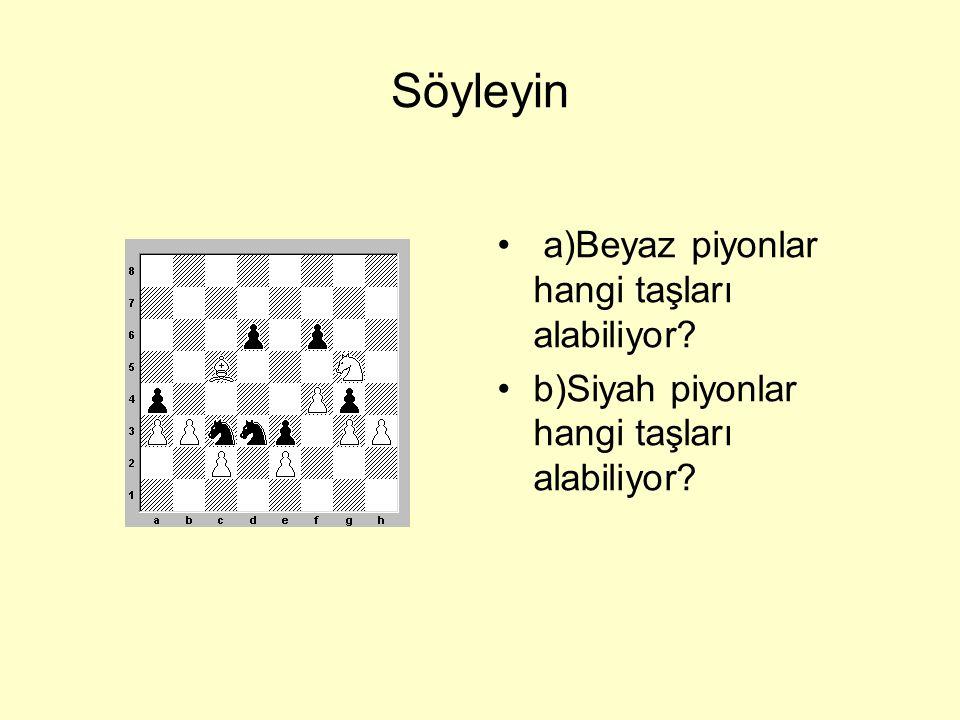Piyon taş aldıktan sonra •Beyazın c2 ve f4 piyonları Siyahın d3 ve e5 piyonlarını aldı.