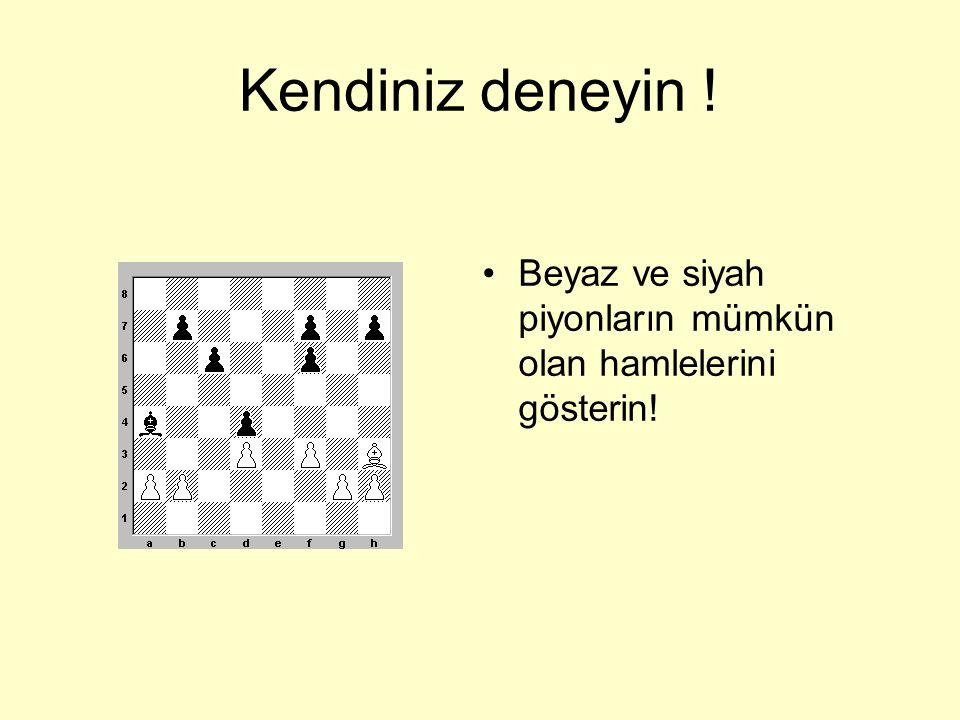 Söyleyin • a)Beyaz piyonlar hangi taşları alabiliyor? •b)Siyah piyonlar hangi taşları alabiliyor?