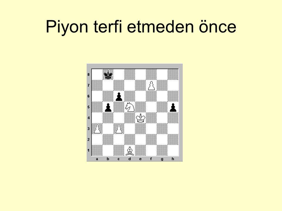 Piyon terfisi •Piyon e8 karesine geldiğinde Vezir veya Kale veya At veya Fil olacak.Sadece kendi renginden bir taşa(Şah hariç) dönüşebilir.Hangi taşa dönüşeceğini oyuncu kendisi karar verir.