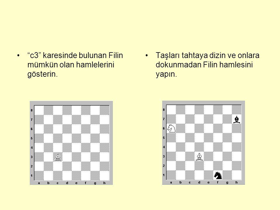 • f7 karesinde bulunan beyaz Fil, a8 karesine gitmek istiyorsa,önce d5 karesine gitmeli ve ondan sonra a8 karesine gidebilir.