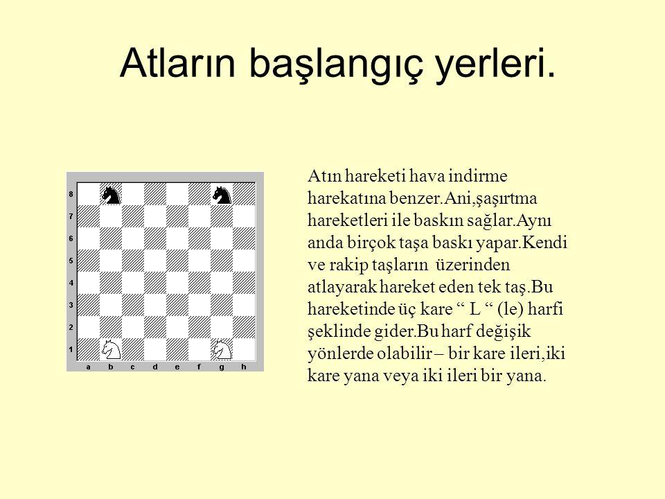 AT •Satranç tahtasında görebileceğiniz gerçek At.Değişik şekillerde ve çeşitli maddelerden yapılır – ağaç,cam,mermer,me tal ve buna benzer