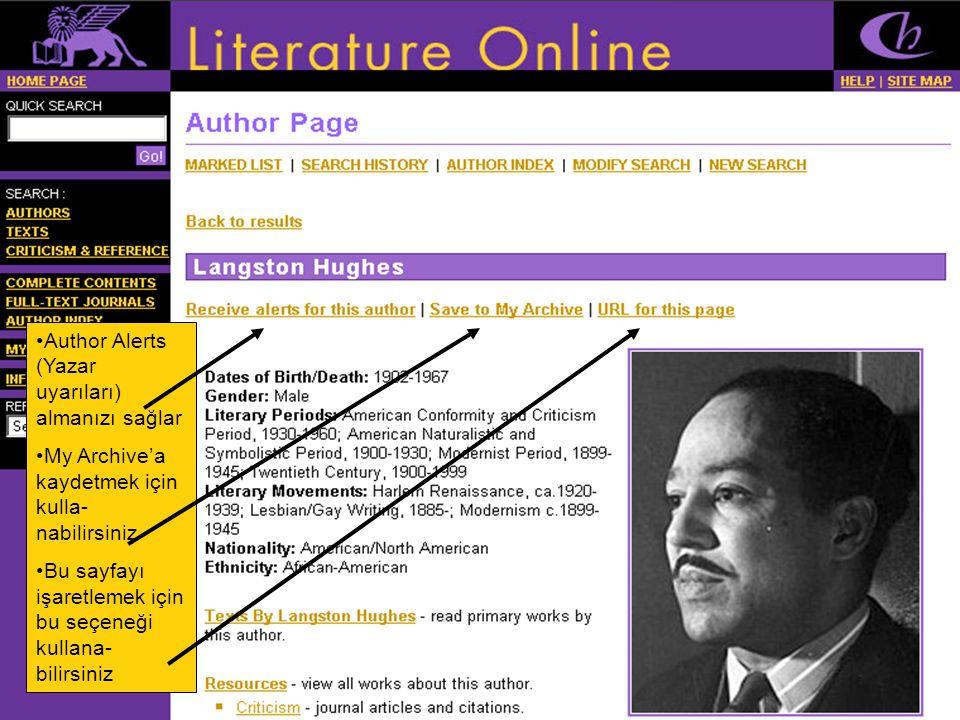 •Author Alerts (Yazar uyarıları) almanızı sağlar •My Archive'a kaydetmek için kulla- nabilirsiniz •Bu sayfayı işaretlemek için bu seçeneği kullana- bilirsiniz