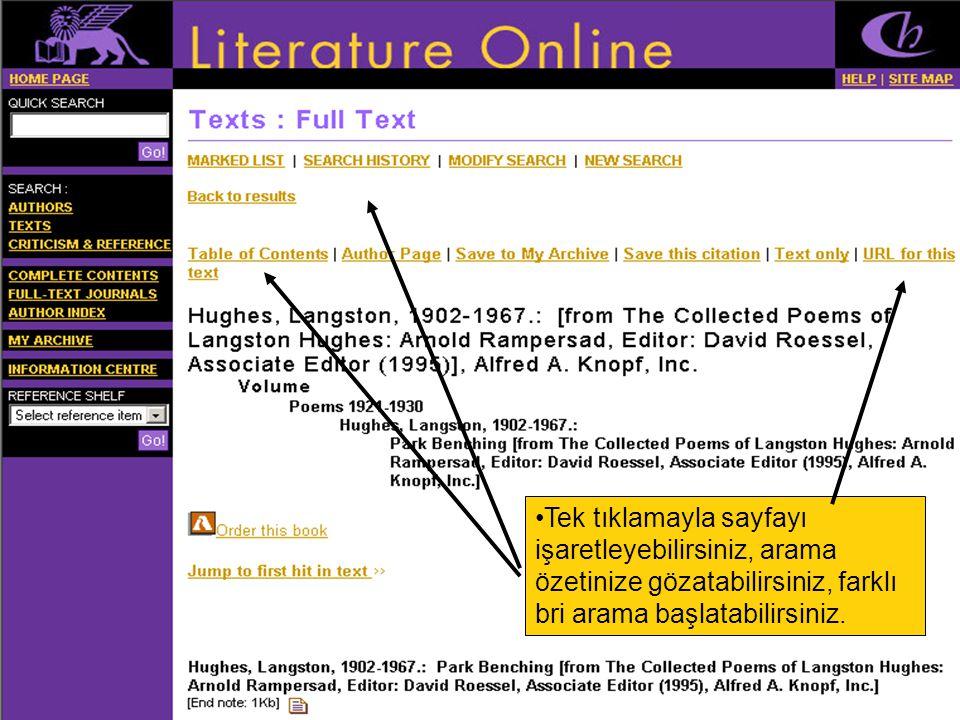 •Tek tıklamayla sayfayı işaretleyebilirsiniz, arama özetinize gözatabilirsiniz, farklı bri arama başlatabilirsiniz.