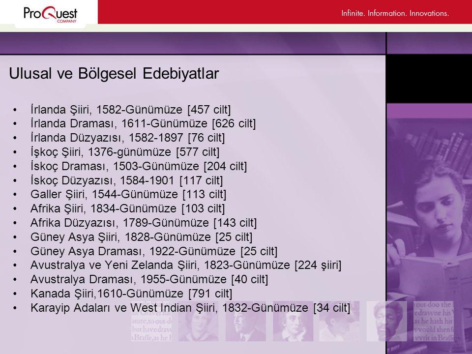 Eleştiri ve Referans Kaynakları •190'ın Üzerinde Tam Metin Edebiyat Dergisi •The Annual Bibliography of English (ABELL) •Edebi referans çalışmaları •Eleştirel denemeler •Sözlükler •İnternet kaynaklarının en iyileri •3000'in üzerinde Yazar Biyografisi ve 1400'ün üzerinde Yazar Bibliyografisi •Poets on Screen (800'ün Üzerinde Videoya Kaydedilmiş Şiir Dinletisi)