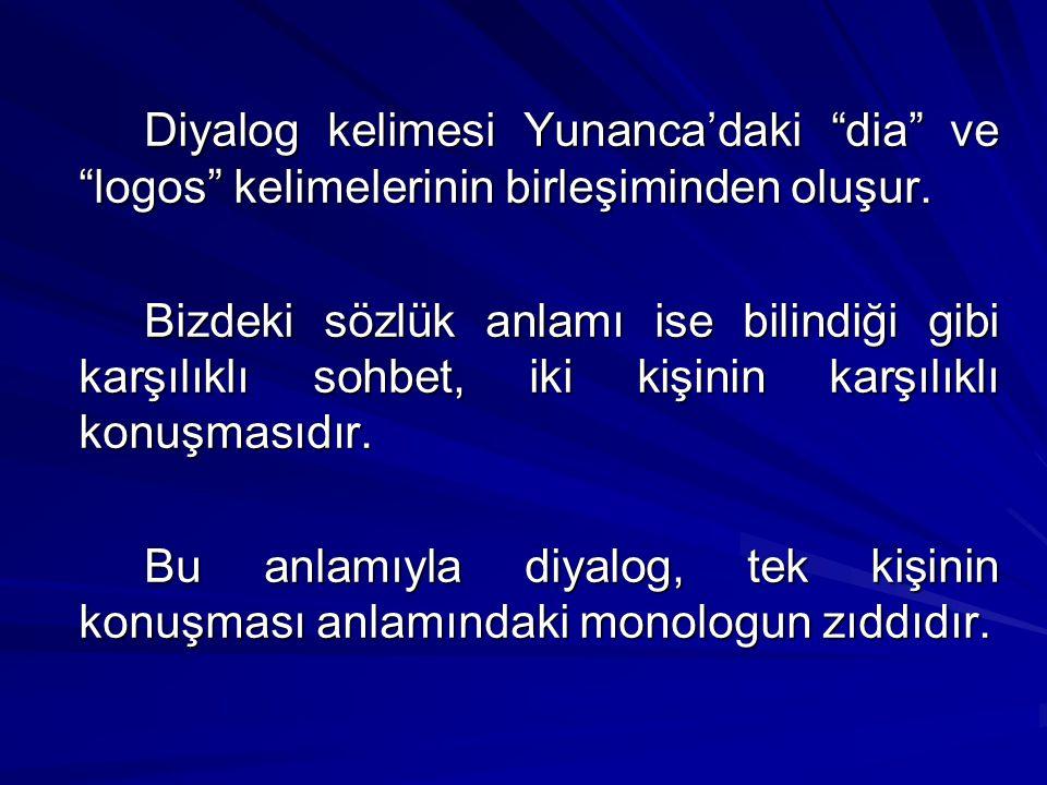 """Diyalog kelimesi Yunanca'daki """"dia"""" ve """"logos"""" kelimelerinin birleşiminden oluşur. Bizdeki sözlük anlamı ise bilindiği gibi karşılıklı sohbet, iki kiş"""