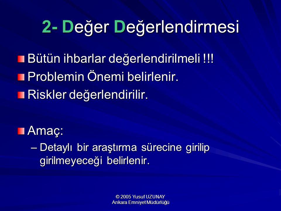 © 2005 Yusuf UZUNAY Ankara Emniyet Müdürlüğü 2- Değer Değerlendirmesi Bütün ihbarlar değerlendirilmeli !!! Problemin Önemi belirlenir. Riskler değerle