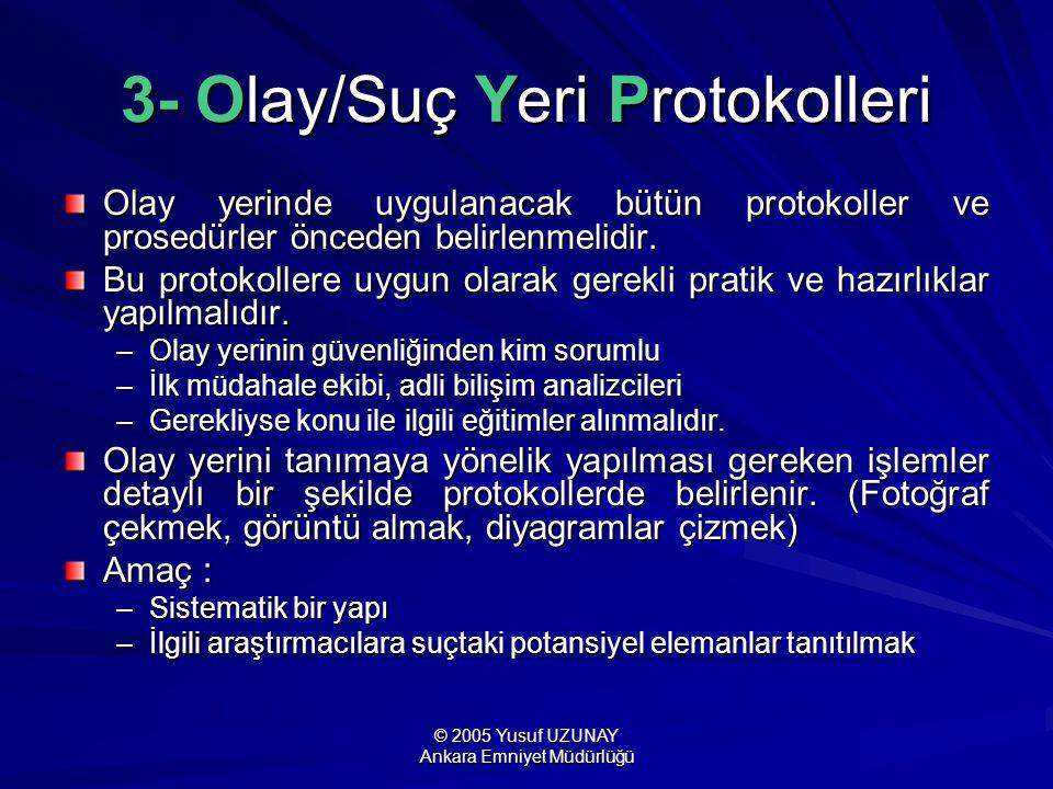 © 2005 Yusuf UZUNAY Ankara Emniyet Müdürlüğü 3- Olay/Suç Yeri Protokolleri Olay yerinde uygulanacak bütün protokoller ve prosedürler önceden belirlenm