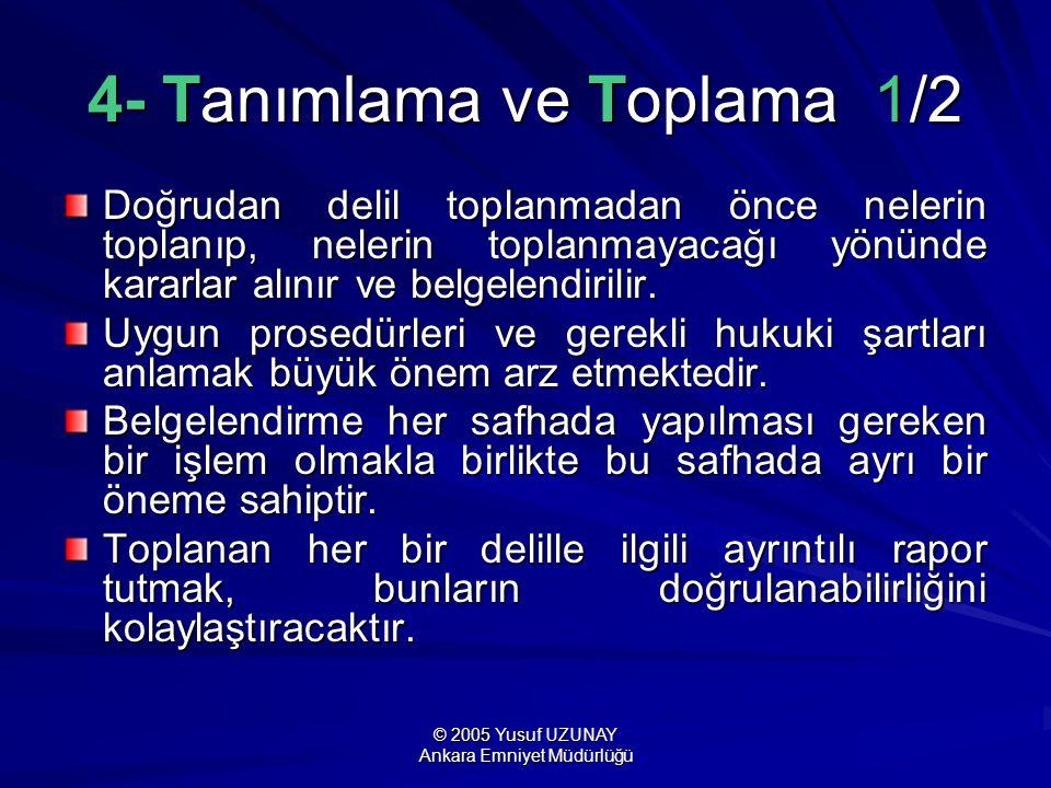 © 2005 Yusuf UZUNAY Ankara Emniyet Müdürlüğü 4- Tanımlama ve Toplama 1/2 Doğrudan delil toplanmadan önce nelerin toplanıp, nelerin toplanmayacağı yönü