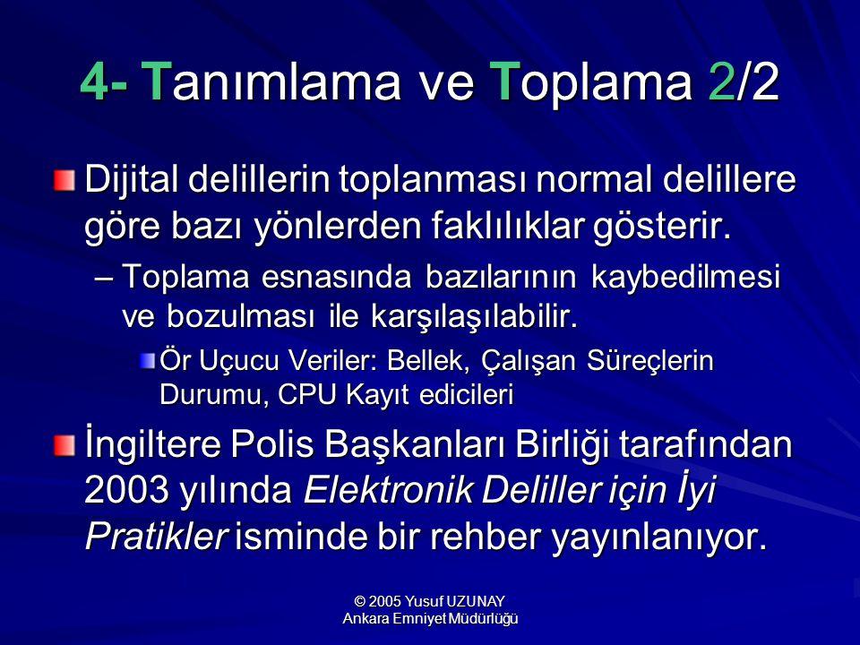 © 2005 Yusuf UZUNAY Ankara Emniyet Müdürlüğü 4- Tanımlama ve Toplama 2/2 Dijital delillerin toplanması normal delillere göre bazı yönlerden faklılıkla