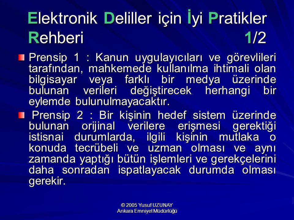 © 2005 Yusuf UZUNAY Ankara Emniyet Müdürlüğü Elektronik Deliller için İyi Pratikler Rehberi 1/2 Prensip 1 : Kanun uygulayıcıları ve görevlileri tarafı