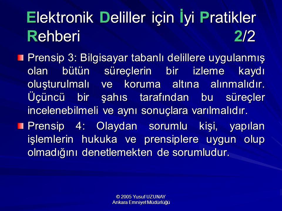 © 2005 Yusuf UZUNAY Ankara Emniyet Müdürlüğü Elektronik Deliller için İyi Pratikler Rehberi 2/2 Prensip 3: Bilgisayar tabanlı delillere uygulanmış ola