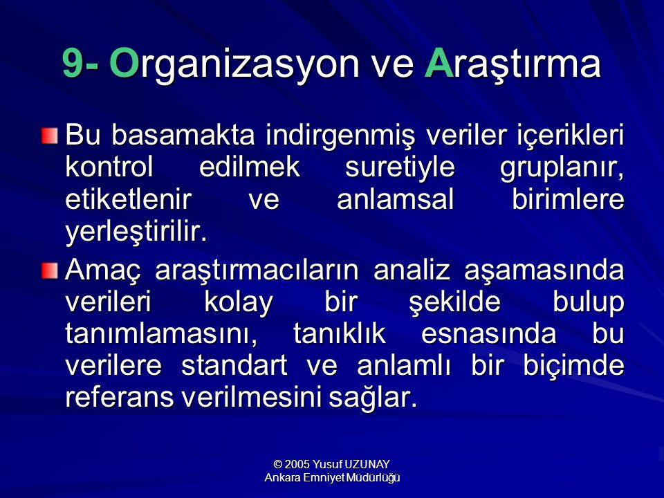 © 2005 Yusuf UZUNAY Ankara Emniyet Müdürlüğü 9- Organizasyon ve Araştırma Bu basamakta indirgenmiş veriler içerikleri kontrol edilmek suretiyle grupla
