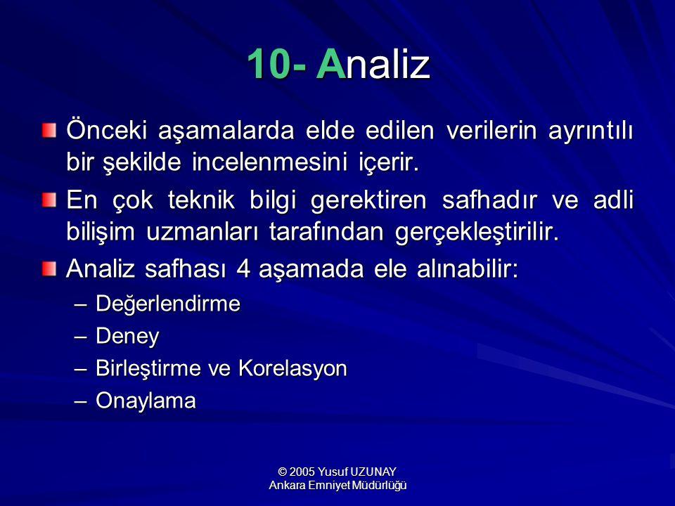© 2005 Yusuf UZUNAY Ankara Emniyet Müdürlüğü 10- Analiz Önceki aşamalarda elde edilen verilerin ayrıntılı bir şekilde incelenmesini içerir. En çok tek