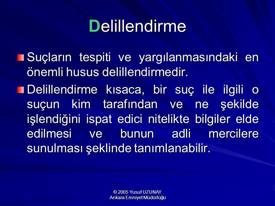 © 2005 Yusuf UZUNAY Ankara Emniyet Müdürlüğü Delillendirme Suçların tespiti ve yargılanmasındaki en önemli husus delillendirmedir. Delillendirme kısac