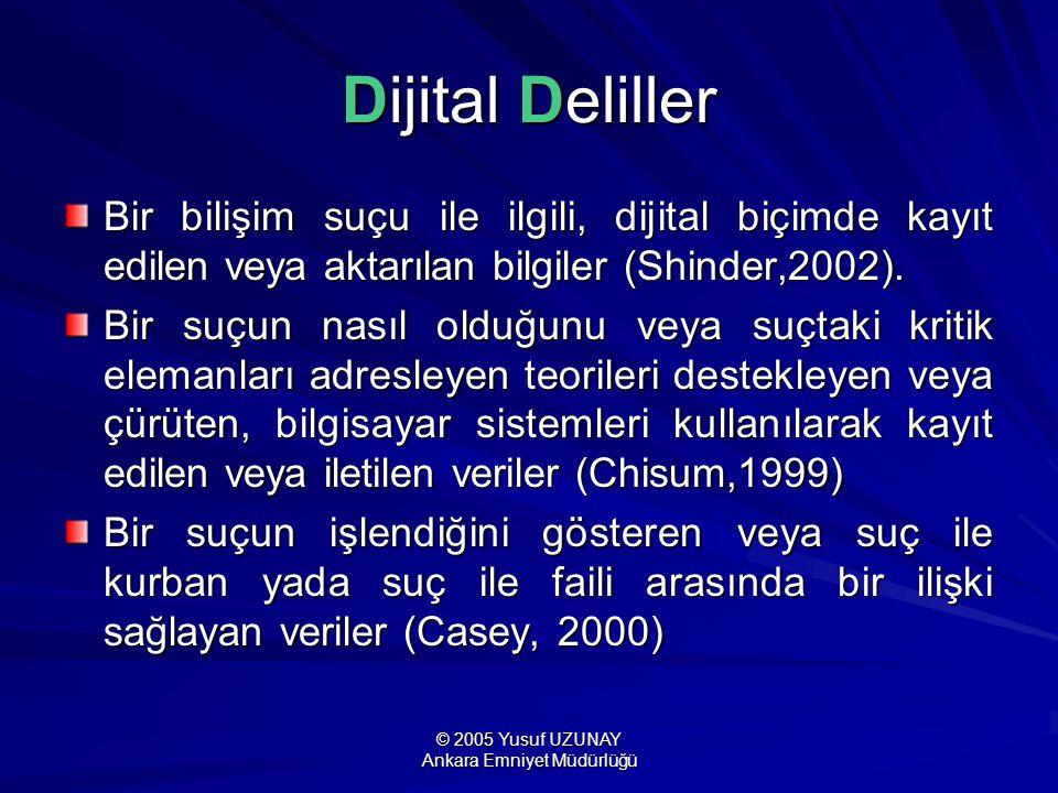 © 2005 Yusuf UZUNAY Ankara Emniyet Müdürlüğü Dijital Deliller Bir bilişim suçu ile ilgili, dijital biçimde kayıt edilen veya aktarılan bilgiler (Shind