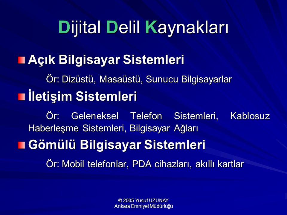 © 2005 Yusuf UZUNAY Ankara Emniyet Müdürlüğü Dijital Delil Kaynakları Açık Bilgisayar Sistemleri Ör: Dizüstü, Masaüstü, Sunucu Bilgisayarlar Ör: Dizüs