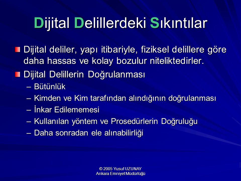 © 2005 Yusuf UZUNAY Ankara Emniyet Müdürlüğü 6- Kurtarma Korunmuş dijital deliller üzerinde tam bir analize başlamadan önce silinmiş, gizlenmiş, şekli değiştirilmiş veya mevcut işletim ve dosya sistemi ile görüntülenemeyen verilerin ortaya çıkarılması gerekir.