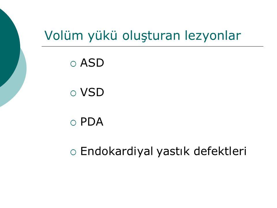 Volüm yükü oluşturan lezyonlar  ASD  VSD  PDA  Endokardiyal yastık defektleri