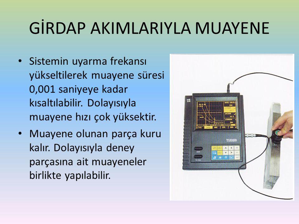 • Sistemin uyarma frekansı yükseltilerek muayene süresi 0,001 saniyeye kadar kısaltılabilir. Dolayısıyla muayene hızı çok yüksektir. • Muayene olunan