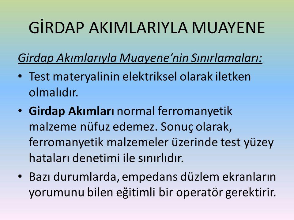 Girdap Akımlarıyla Muayene'nin Sınırlamaları: • Test materyalinin elektriksel olarak iletken olmalıdır. • Girdap Akımları normal ferromanyetik malzeme