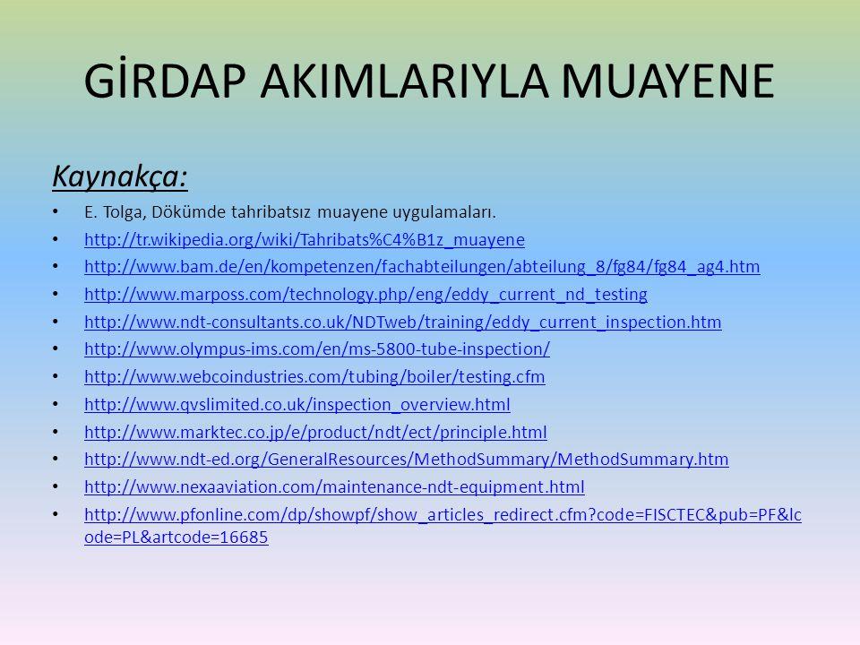 Kaynakça: • E. Tolga, Dökümde tahribatsız muayene uygulamaları. • http://tr.wikipedia.org/wiki/Tahribats%C4%B1z_muayene http://tr.wikipedia.org/wiki/T