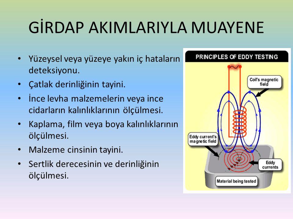• Yüzeysel veya yüzeye yakın iç hataların deteksiyonu. • Çatlak derinliğinin tayini. • İnce levha malzemelerin veya ince cidarların kalınlıklarının öl