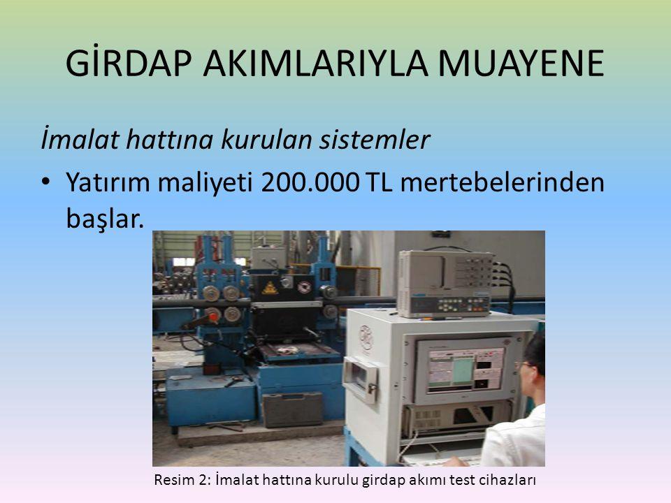 İmalat hattına kurulan sistemler • Yatırım maliyeti 200.000 TL mertebelerinden başlar. GİRDAP AKIMLARIYLA MUAYENE Resim 2: İmalat hattına kurulu girda