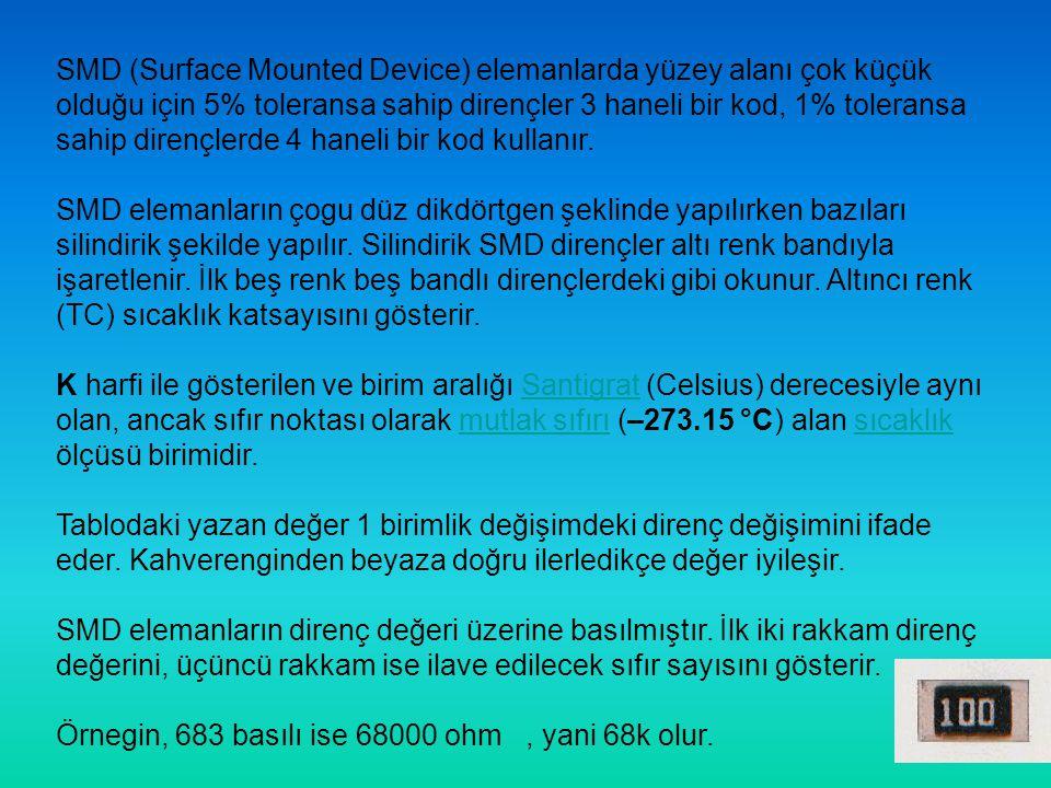 SMD (Surface Mounted Device) elemanlarda yüzey alanı çok küçük olduğu için 5% toleransa sahip dirençler 3 haneli bir kod, 1% toleransa sahip dirençlerde 4 haneli bir kod kullanır.