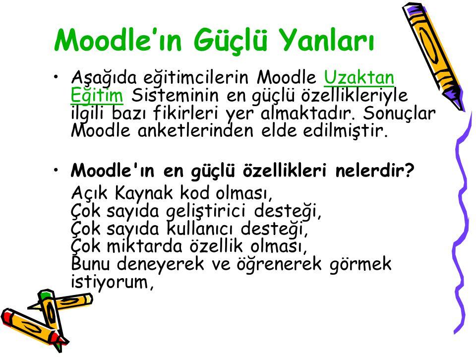 Moodle'ın Güçlü Yanları •Aşağıda eğitimcilerin Moodle Uzaktan Eğitim Sisteminin en güçlü özellikleriyle ilgili bazı fikirleri yer almaktadır. Sonuçlar
