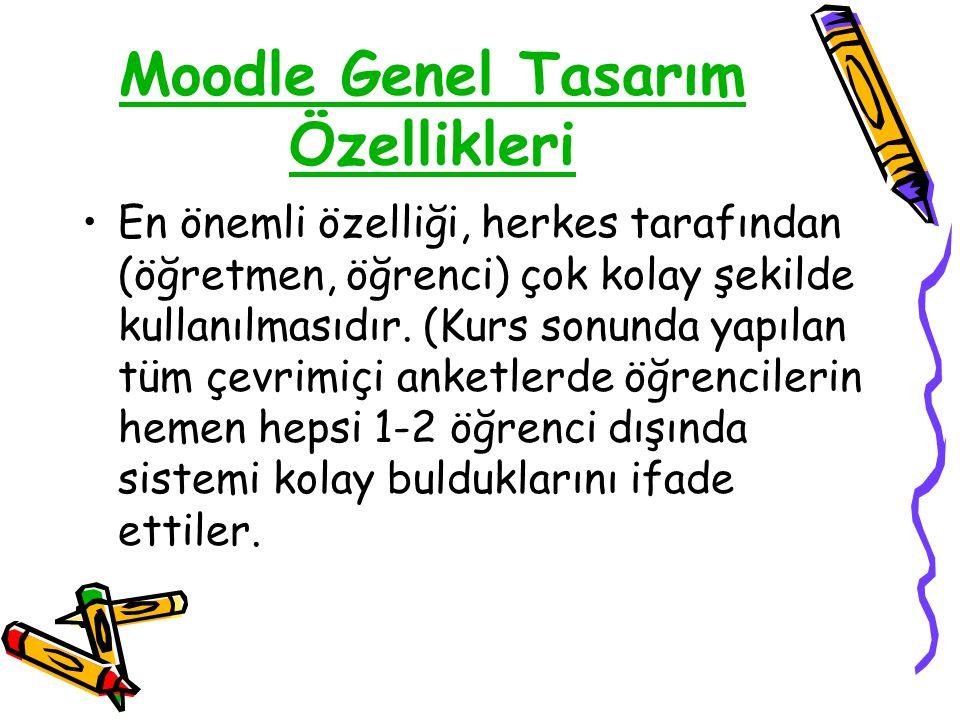 Moodle Genel Tasarım Özellikleri •En önemli özelliği, herkes tarafından (öğretmen, öğrenci) çok kolay şekilde kullanılmasıdır. (Kurs sonunda yapılan t