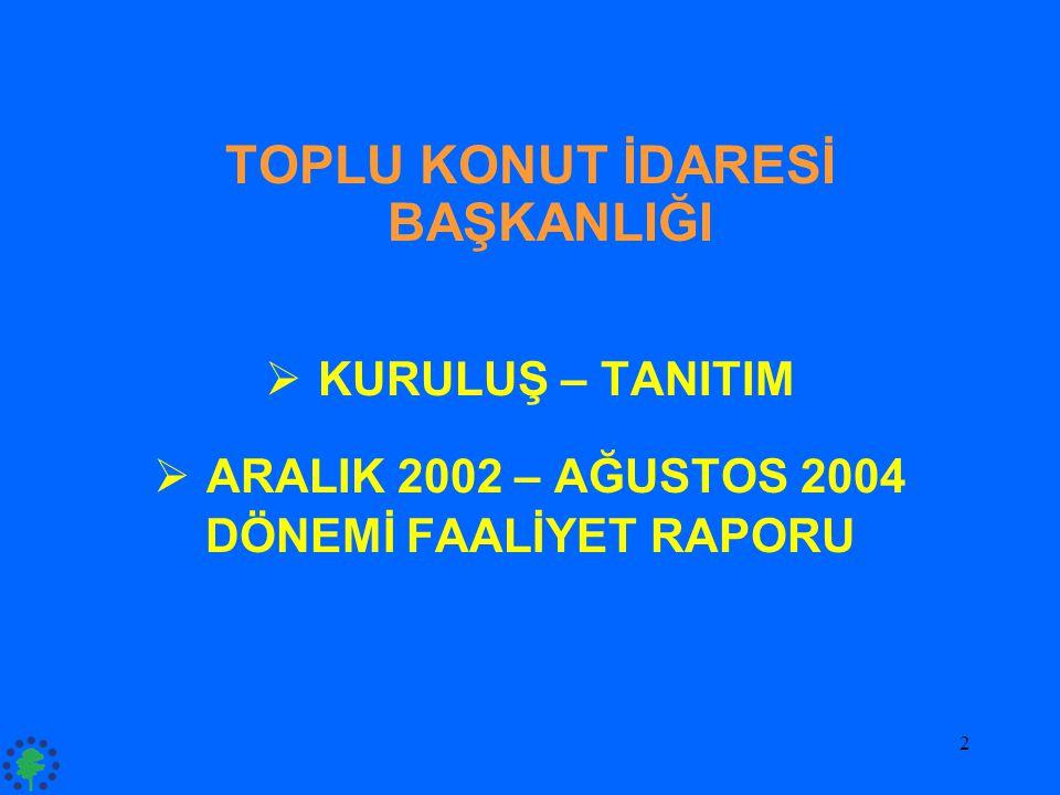 2 TOPLU KONUT İDARESİ BAŞKANLIĞI  KURULUŞ – TANITIM  ARALIK 2002 – AĞUSTOS 2004 DÖNEMİ FAALİYET RAPORU