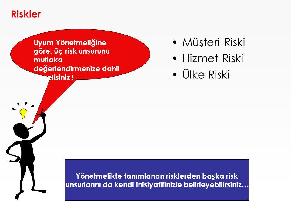 •Müşteri Riski •Hizmet Riski •Ülke Riski Riskler Uyum Yönetmeliğine göre, üç risk unsurunu mutlaka değerlendirmenize dahil etmelisiniz ! Yönetmelikte