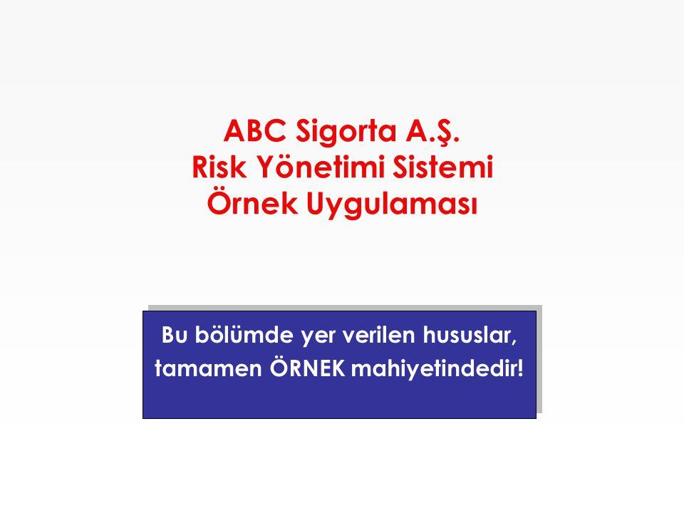 ABC Sigorta A.Ş. Risk Yönetimi Sistemi Örnek Uygulaması Bu bölümde yer verilen hususlar, tamamen ÖRNEK mahiyetindedir! Bu bölümde yer verilen hususlar