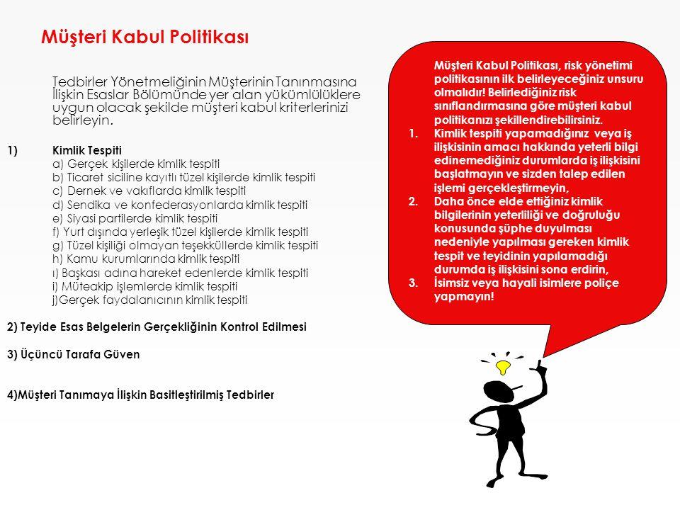 Müşteri Kabul Politikası Tedbirler Yönetmeliğinin Müşterinin Tanınmasına İlişkin Esaslar Bölümünde yer alan yükümlülüklere uygun olacak şekilde müşter