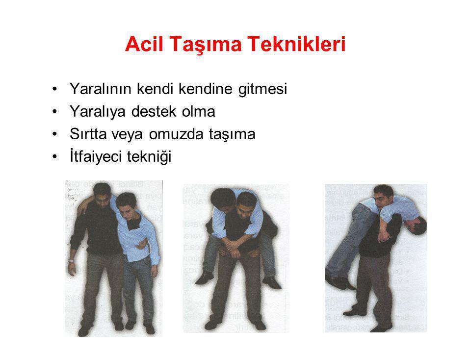 Acil Taşıma Teknikleri •Battaniye ile sürükleme; •Koltuk altından ve giysiden tutarak sürükleme;