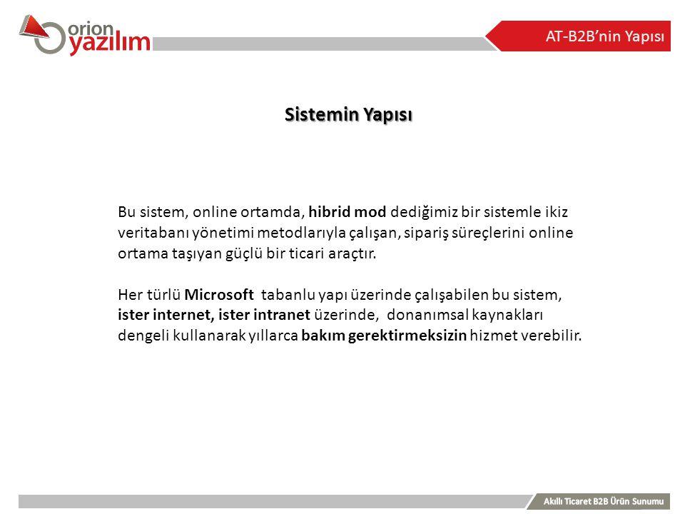AT-B2B'nin Yapısı Sistemin Yapısı Bu sistem, online ortamda, hibrid mod dediğimiz bir sistemle ikiz veritabanı yönetimi metodlarıyla çalışan, sipariş
